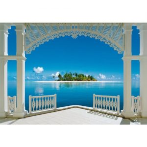 1art1 40569 Terrassen – Ein Perfekter Tag 8-teilig, Fototapete Poster-Tapete (368 x 254 cm)