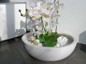 Pflanzschale NOVA Ø55 x H19cm aus Fiberglas in perlweiß, Blumenschale, Pflanzgefäße, Dekoschale, Deko