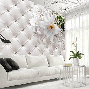 Vlies Fototapete 400×280 cm ! Top – Tapete – Wandbilder XXL – Wandbild – Bild – Fototapeten – Tapeten – Wandtapete – Wand – Blumen Leder weiß modern b-C-0119-a-a