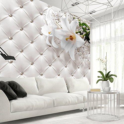 Vlies Fototapete 400x280 cm ! Top - Tapete - Wandbilder XXL - Wandbild - Bild - Fototapeten - Tapeten - Wandtapete - Wand - Blumen Leder weiß modern b-C-0119-a-a