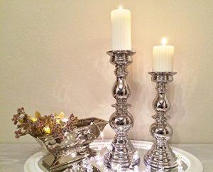 Kerzenleuchter ALADDIN Silber Kerzenständer Kerzen Deko Keramik Dekoration (Groß)