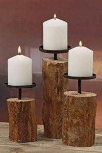 """3er-Set Kerzenleuchter Kerzenständer """"Tempe"""" Holz – H14/18,5/23,5cm"""