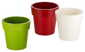 Haushaltsdose Blumentöpfe 3er Set grün/rot/weiß Durchmesser 12cm
