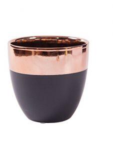 Blumentopf schwarz Pflanztopf Übertopf Keramik Kupferlackierung (Dekoobjekt) D12.5*H11.5cm Innen: D11*H11cm