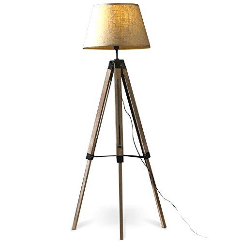 MOJO® Stehlampe Höhenverstellbar Stehleuchte Tripod Lampe Dreifuss (Schirm Beige, Beschläge Schwarz) mq-l63