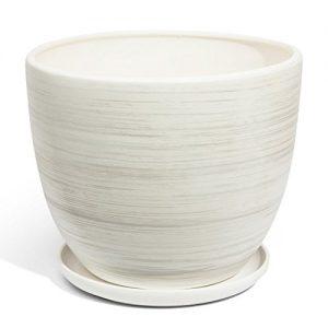 Keramik Blumentopf Übertopf Keramik weiss Ø 305 mm Schale weiss Pflanzschale inkl. Untersetzer Keramikschüssel