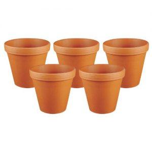 Spang Blumentopf, Ton, rot, natur, außen Ø 13,3cm, innen Ø 12,3cm, terracotta (5 Stück)
