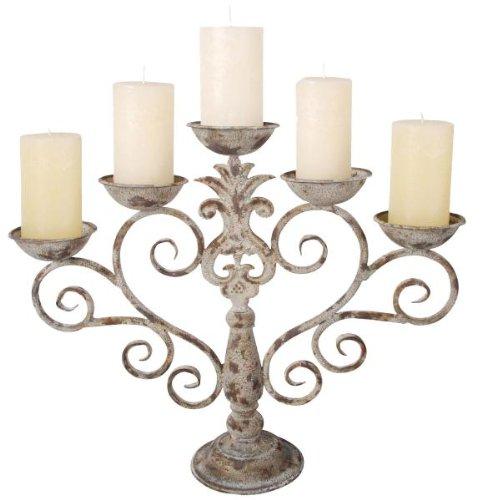 5-armiger Kerzenleuchter aus Antik-Eisen, Kerzenständer, ca. 53 cm Breite, 43 cm Höhe