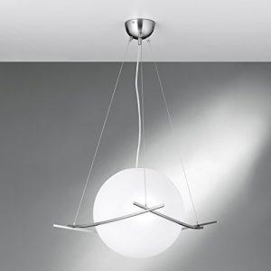 NEG Hängeleuchte UnoPalloni (28,5cm Kugel-Durchmesser) Deckenlampe aus Opalglas und Edelstahl
