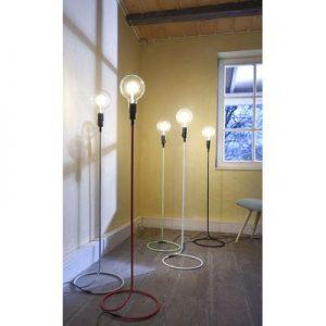 Vintage Stand Lampe Beistell Steh Leuchte Strahler Textil grau Leuchten Direkt 11017-15