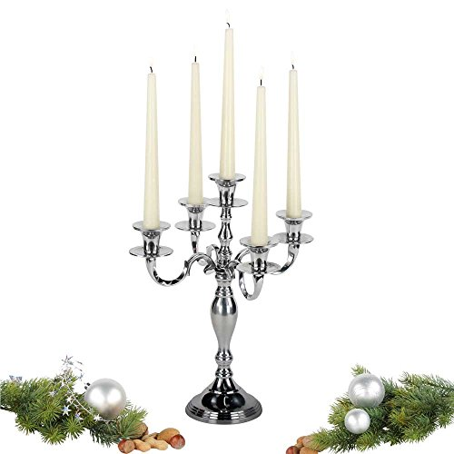 Kerzenleuchter Devi silber 5-armiger Kerzenständer festlicher Kerzenhalter (H 37cm / B 29cm)
