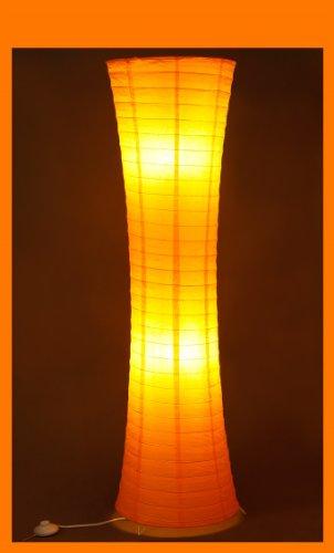 Reispapierlampe orange in modernem Design 125 x 35cm Trango (Stehleuchte in orange TG1230)