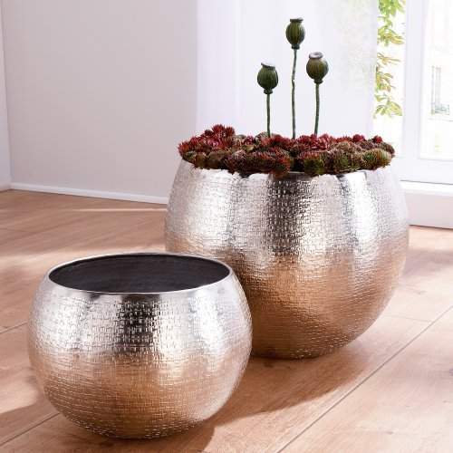 Blumentopf-Set 2 Größen 30 cm Ø + 40 cm Ø Übertopfe Aluminium Modern Design silber glänzend 2 Stück