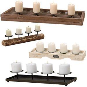LS Kerzenschale Kerzenständer Kerzenhalter Kerzentablett Metall 40cm schwarz