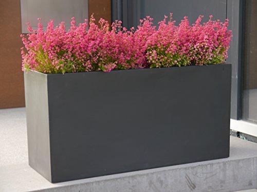 Pflanztrog der BUNDESGARTENSCHAU L100x B40x H50cm aus Fiberglas in schwarz-anthrazit, Pflanzkübel, Blumenkübel, groß
