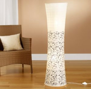 Reispapierlampe weiß in modernem Design mit floralem Muster 125 x 35cm Trango (Stehleuchte in weiß mit floralem Design TG1240)