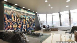 Fototapete New York Skyline in der Dämmerung Wand-dekoration – Wandbild Metropole Poster-Motiv by GREAT ART (210 x 140 cm)