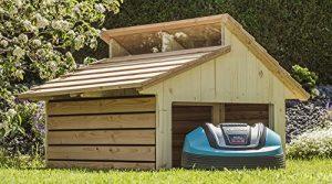 Mähroboter Garage RoboGard Home aus Holz – für alle gängigen Rasenroboter