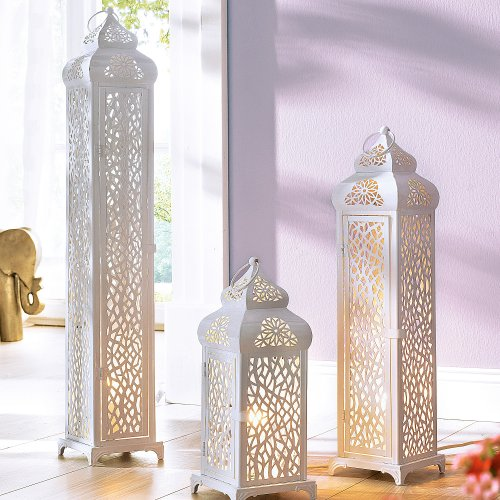 Stehleuchte Oriental-Design Mahal 1 x E14/max. 40W Metall weiß 76 cm