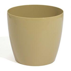 30 Liter Blumentopf Übertopf Coubi Serie beige ø 400 mm Glanz PP Kunststoff Rollen Vorbereitung