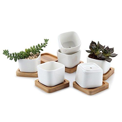 Pflanzgefäße aus Keramik mit Bambus Tablett Set Eltern, keramik, No.1, shape No.1