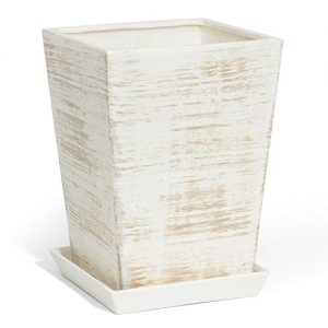 Keramik Blumentopf Übertopf quadratisch handbemalt h-330 mm inkl. Untersetzer Patina Optik Wasserablaufloch
