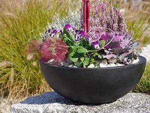 Pflanzschale NOVA Ø34 x H12cm aus Fiberglas in schwarz-anthrazit, Blumenschale, Pflanzgefäße, Dekoschale, Pflanzkübel