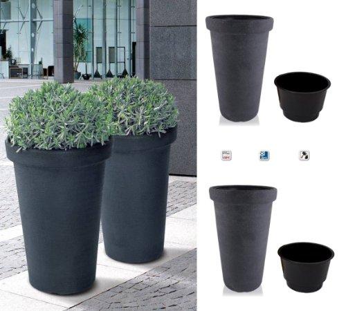 2er Set XXL Flower Tower Anthrazit - 2 Pflanztöpfe mit 74 cm Höhe, 48 cm Durchmesser und 58 Liter Volumen für Innen- und Außenbereiche, inkl. halbhohem Einsätzen für sauberes Bepflanzen und einfaches Umtopfen