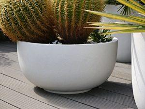 Pflanzschale VIVA Ø45x H20cm aus Fiberglas in perlweiß, mit Fuß, Pflanzkübel, Blumenschale, Blumenkübel