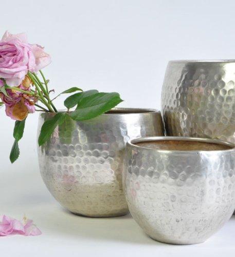 Blumentopf Übertopf silber | 20cm Ø | versilbertes Metall | Orchideentopf