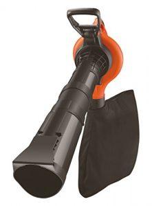 Black+Decker 3-in-1 Set Elektro-Laubsauger Metall-Häckslerrad (inkl. Sauger, Blasrohr, aufsteckbarer Laubrechen und Schulterpolster, 418 km/h Blasgeschwindigkeit, 3000 W) GW3050, schwarz orange
