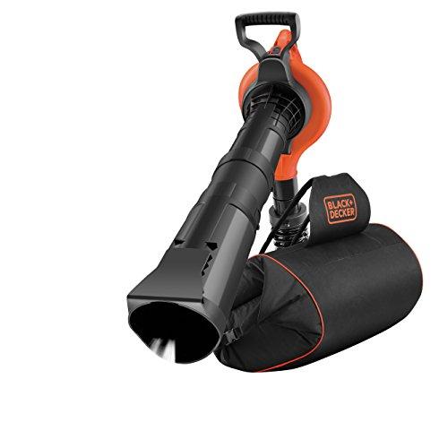Black+Decker GW3031BP 3-in-1 Set Elektro-Laubsauger Metall-Häckslerrad inklusiv Sauger, Blasrohr, aufsteckbarer Laubrechen, 72 L Laubfang-Rucksack und Schulterpolster, 418 km/h Blasgeschwindigkeit