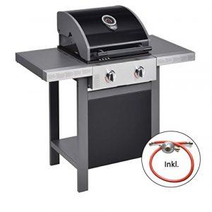 Jamie Oliver Gasgrill HOME 2  Zweiflammiger Premium BBQ Grillwagen mit Thermometer & einklappbaren Seitenablagen – Barbecue mit robusten gusseisernen Rost & Warmhaltefläche