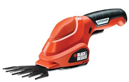 Black+Decker Akku-Grasschere (3.6V Li-Ion ergonomisches Design, Akku-Laufzeit ca. 45min, Einschaltsperre, inkl. Ladestation und Ladekabel LED-Ladeanzeige) GSL200, schwarz orange