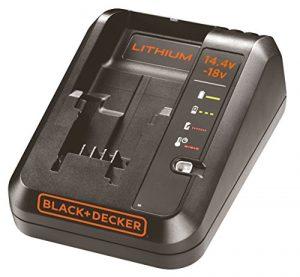 Black+Decker Multivolt-Schnellladegerät (für 14.4V Li-Ionen / 1Ah und 18V / 1Ah Akkus, Bestandteil des 18V Systems, 4 Ladestandmodi, inklusive Ladekabel, LED-Ladestandanzeige) BDC1A