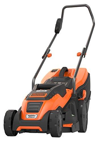 Black+Decker Edge-Max Elektro-Rasenmäher (1400W, mit 34 cm Schnittbreite, E-Drive Technologie und Compact & Go-Funktion) EMAX34I, schwarz orange