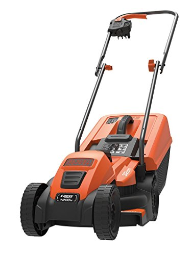 Black+Decker Edge-Max Elektro-Rasenmäher (1200W, 32 cm Schnittbreite, E-Drive Technologie, 35l Grasfangbehälte) EMAX32S, schwarz orange