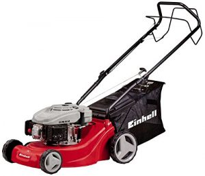 Einhell Benzin Rasenmäher GC-PM 40 S-P (1,2 kW, 99 cm³, Schnittbreite 40 cm, 5-stufige zentrale Schnitthöhenverstellung, Fangsack 50 l)