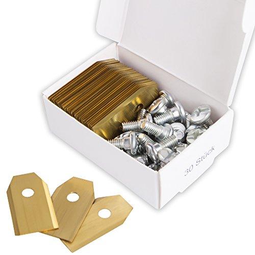 30x Titan Messer Klingen LONGLIFE für alle Husqvarna® Automower® / Gardena Mähroboter - (3g - 0,75mm) inkl. 30 Schrauben - Diese Ersatzmesser passen für 105, 310, 315, 320, 420, 430x, r40i uvm