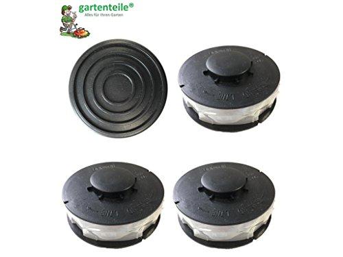 Set 3+1 passend für EINHELL CG-ET 4530 : 3 StückRasentrimmer Ersatzspule / Doppel - Fadenspule plus eine Haube / Spulenabdeckung passend für EINHELL CG-ET 4530 Elektro Rasentrimmer 450 Watt