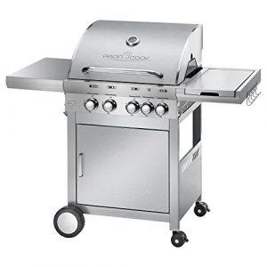 ProfiCook PC-GG 1059  Gasgrill, 4 Edelstahlbrenner + 1 zusätzliche Kochstelle, 4 Heizzonen für individ. Temperatursteuerung, stufenlose Temperatureinstellung, herausnehmbarer Fettauffangbehälter, Temperaturanzeige, Edelstahlfront und -haube