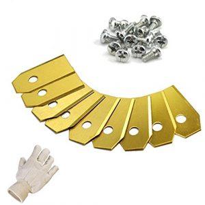 9 TITAN Ersatzmesser für Mähroboter | 0,75 mm | inkl. GRATIS Handschuhe | für Husqvarna Automower und Gardena | Rasenmäher Messer