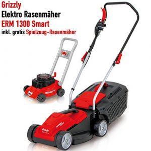 Grizzly Elektro Rasenmäher ERM 1300 Smart – 1300 W Turbo Power Motor, 33 cm Schnittbreite, 30 Liter Fangbox mit Tragegriff – Inkl. Kinder Rasenmäher