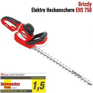 Grizzly Elektro Heckenschere EHS 750, 69 cm Messerlänge, 61 cm Schnittlänge, 750 W, 9-fach verstellbarer Drehgriff, robustes Metallgetriebe, mit Schnellstop-Bremsfunktion