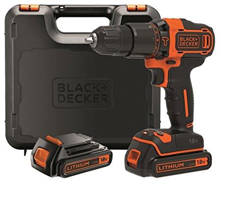 Black+Decker 2-Gang Akku-Schlagbohrschrauber BDCHD18KB – Schlagbohrmaschine mit 2-Gang-Vollmetallgetriebe & LED-Licht zum Schrauben, Bohren & Schlagbohren – 1 x Schlagbohrer Li-Ion 18 V + 2 Akkus