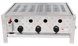 Beeketal 'GGB-2' Profi Gastrobräter Gasgrill mit Grillrost, 3-flammig, Piezo Zünder, 3 stufenlos regelbare Gasregler, Gasbräter inkl. Grillrost, Abtropfblech, Brennerabdeckung, Gasschlauch und Druckminderer