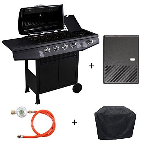 TAINO Basic Gasgrill Grillwagen BBQ Edelstahl-Brenner + Seitenkocher Gas-Grill TÜV Schwarz (4+1 Gasgrill Set + Grillplatte)