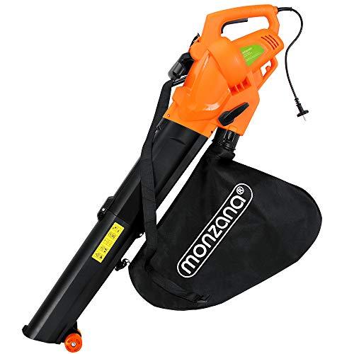 Monzana® Elektro Laubsauger | 3 in 1 | 3000W | Schultergurt und Rollen | Fangsack 45L | Laubbläser Gartensauger Gartenbläser