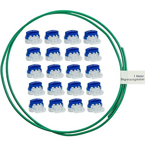 LoHaG - 20 Kabelverbinder in praktischer Box + 1m Begrenzungskabel – Reparaturset – Ideal für Rasenmäher Mähroboter Rasenroboter Kabel Verbinder – Kabelklemmen Anschlussklemmen wasserdicht