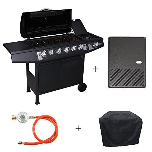 TAINO® Basic Gasgrill Grillwagen BBQ Edelstahl-Brenner + Seitenkocher Gas-Grill TÜV Schwarz (6+1 Gasgrill Set + Grillplatte)